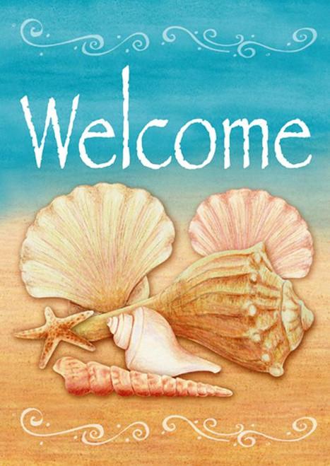 Beach Welcome Shell Starfish Sand Fun Standard Flag SF 40 Inches
