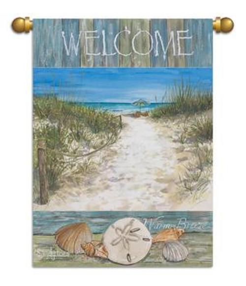 Sandy Toes Salty Air Beach Welcome Garden Flag Banner