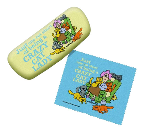 One Cat Short of Crazy Cat Lady Eyeglass Reading Glasses Case and Lens Cloth