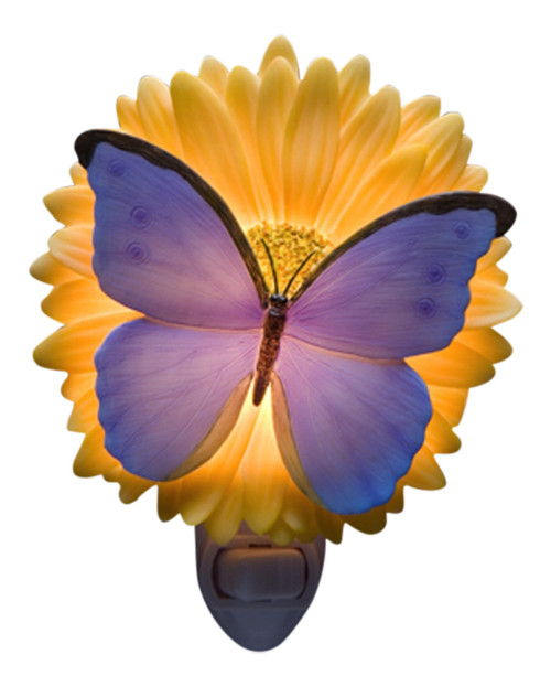 Blue Butterfly and Gerber Daisy Floral Night Light