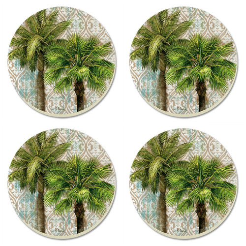 Aqua Escape Palm Trees 4 Inch Round Absorbent Stone Coasters Set of 4
