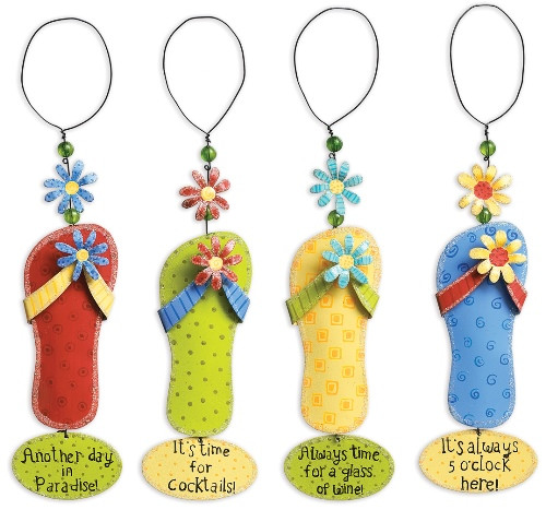 Always Time for a Glass Floral Flip Flops Wine Bottle Charms Set of 4