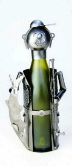 Coastal Deep Sea Fisherman Decorative Metal Wine Bottle Holder Caddy