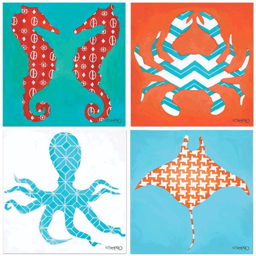 Assorted Sealife Occasions Square Coasters Set of 4 David Bromstad Designs