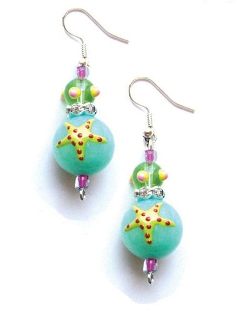 Starfish Rhinestone Glass Beaded Kate and Macy Earrings