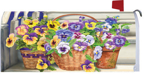 Basket Full of Pretty Pansy Flowers on Steps Mailbox Makeover Magnetic Wrap