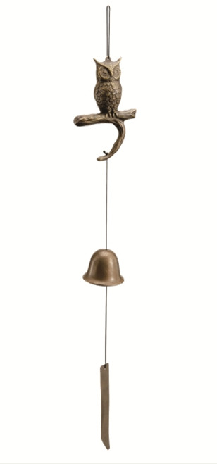 Brass Owl Windchimes Garden Decor Wind Bell