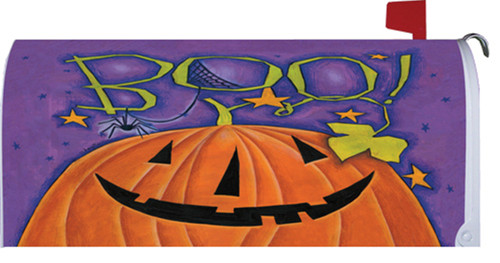 Boo! Great Big Pumpkin Happy Halloween Magnetic Mailbox Wrap Cover