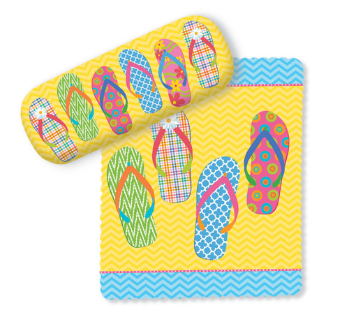 Flip Flop Parade Yellow Eye Glasses Case and Matching Lens Cloth