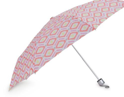 Sunrise Key Pink Orange Lemon Print Compact Folding Umbrella
