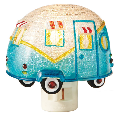 Trailer Blue and White Camper Night Light On the Road Again Camping Fun