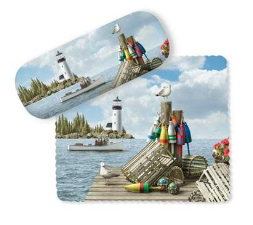 Coastal Dockside Pier Buoys Lighthouse Eye Glasses Case and Lens Cloth