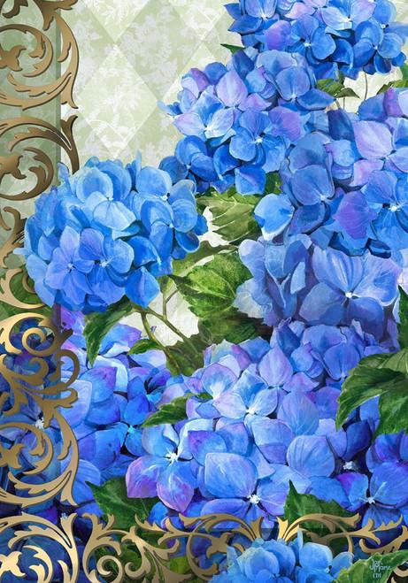 Blue Hydrangeas Spring Floral Bouquet 12 X 18 Inch Fabric Garden Flag