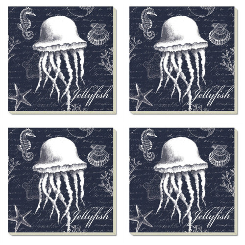 Coastal White Jellyfish 4 Inch Square Absorbent Stone Coasters Set of 4