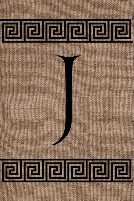 Burlap Greek Key Monogram J Double Sided 12 x 18 Inch Garden Flag Custom Decor