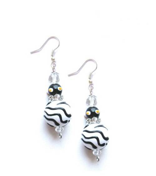 Zebra Animal Print Rhinestone Glass Beaded Kate and Macy Earrings