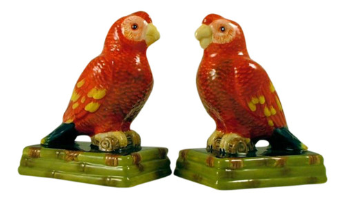Red Tropical Parrot Macaw Salt and Pepper Shaker Set