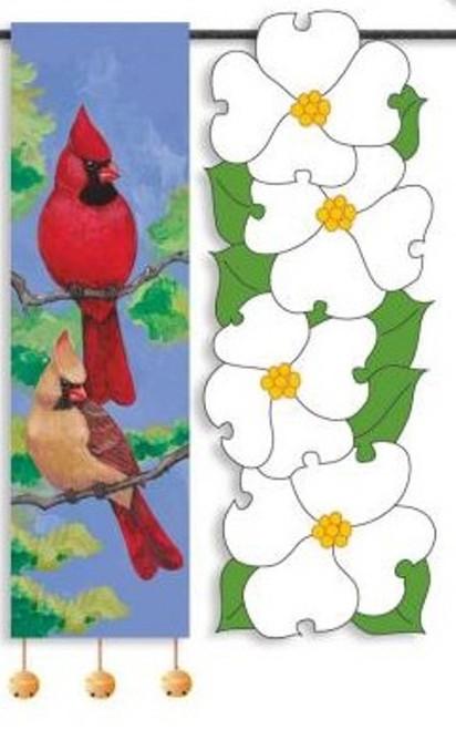 Red Cardinal Garden Flag Banner Silhouettes