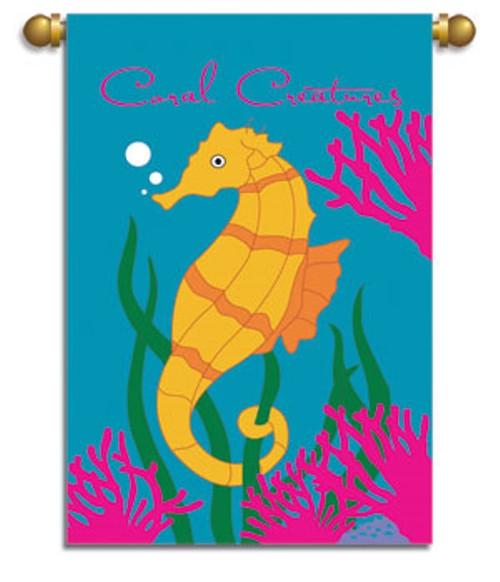 Tropical Coral Creatures Seahorse Garden Flag Banner