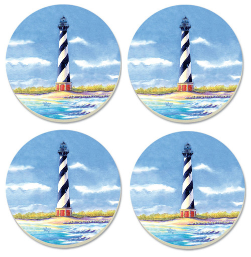 Coastal Hatteras Lighthouse 4 Inch Round Absorbent Stone Coasters Set of 4
