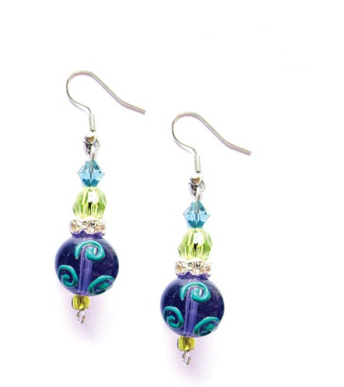 Dazzling Dragonflies Rhinestone Glass Beaded Kate and Macy Earrings