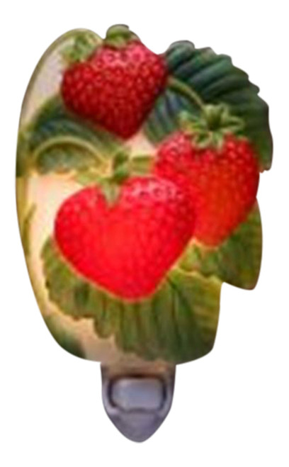 Lucious Red Strawberries Hand Painted Night Light