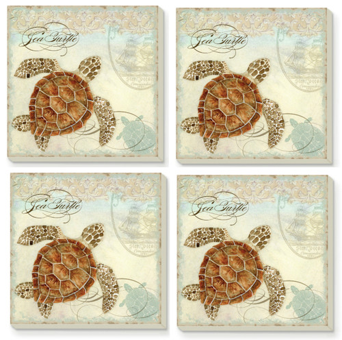 Coastal Nautical Sea Turtles Absorbent Coasters Set of 4