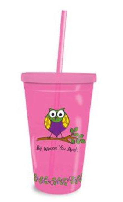 Be Whooo You Are Owl Pink 16 oz Insulated Tumbler with Lid and Straw