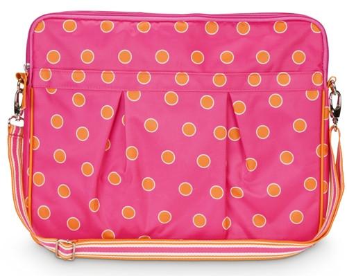 Orange and Pink Sorbet Spots Design Large 15.4 Inch Size Laptop Case Sleeve
