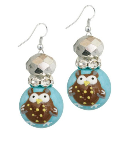 Whooos A Cute Little Owl Rhinestone Glass Beaded Kate and Macy Earrings
