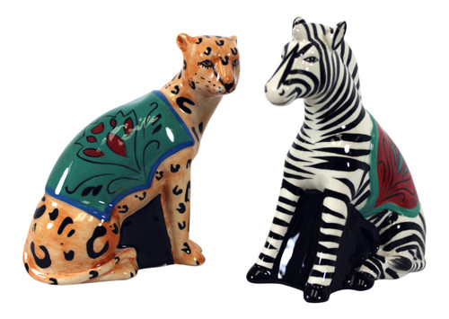 Magpie 3 Dimensional Leopard and Zebra Salt and Pepper Shaker Set Certified