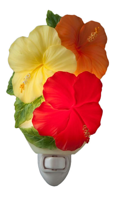 Tropical Island Hibiscus Flowers Trio Red Yellow Orange Floral Night Light