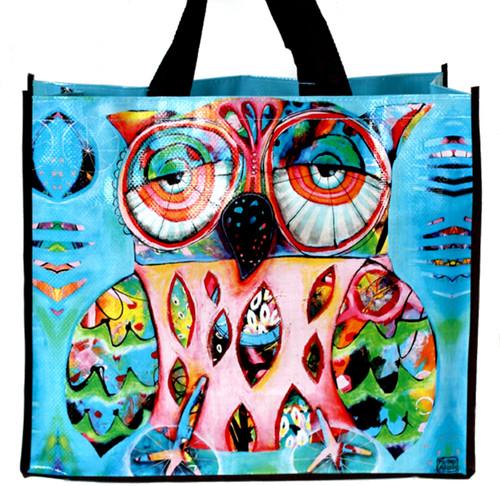 Pink Artsy Owl 17 Inch Shopper Bag Beach Tote Allen Designs