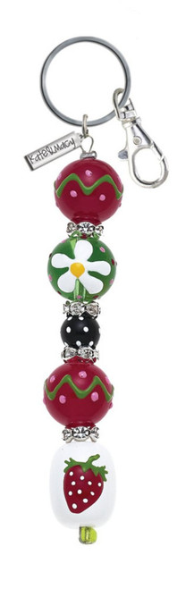 Strawberry Blossom Rhinestone Glass Beads Kate and Macy Keychain