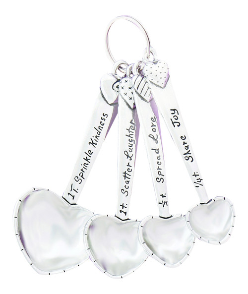 Heart Shaped Pewter Measuring Spoons Set of 4 Kindness Laughter Love Joy