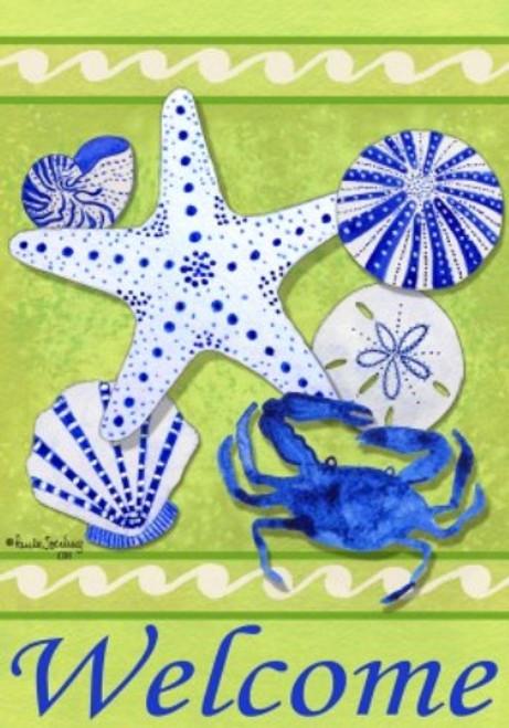 Coastal Welcome Blue Crab Starfish Sea Urchin Seashells Garden Flag