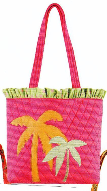 Tropical Quilted Pink Tote Handbag with Palm Trees