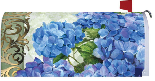 Blue Hydrangeas Spring Floral Bouquet Mailbox Makeover Magnetic Wrap
