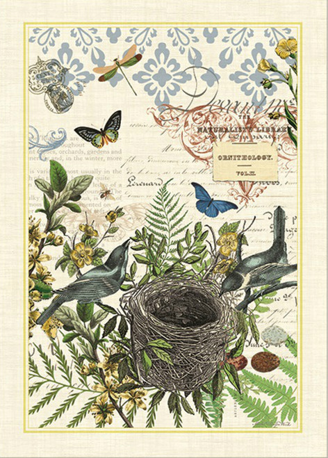 Birds Building a Nest Into the Woods Cotton Kitchen Dish Towel 28 Inches