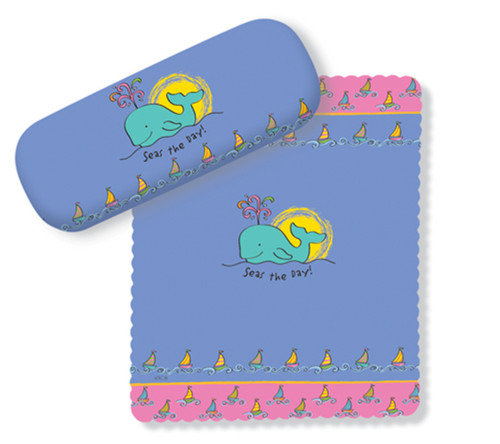 Seas the Day Whimsical Whale Eye Glasses Case and Lens Cloth