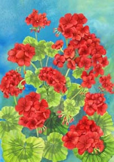 Beautiful Spring Summer Scarlet Geraniums Garden Flag