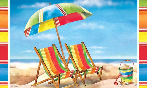 Beach Chairs in Sand Beachy Coastal 30 X 18 Floor Mat