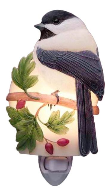Songbird Chickadee Garden Hand Painted Night Light Bonded Marble