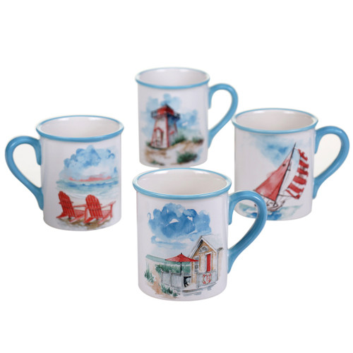 In The Moment Coastal Scenes Mugs Set of 4 Ceramic 18 Ounces