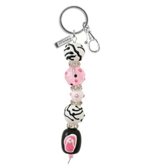 Pink Passion Flip Flops Rhinestone Glass Beaded Kate and Macy Keychain