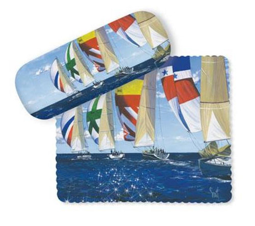 Afternoon Sail Spinnaker Sailboats Glasses Case and Lens Cloth