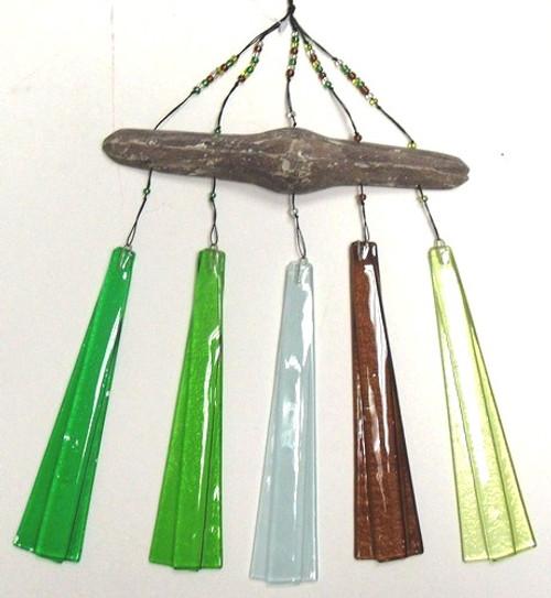 Coastal Shoreline Driftwood Coastal Green Glass Wind Chimes