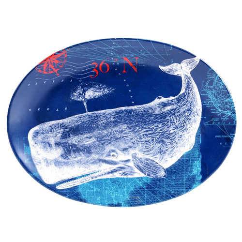 Pier 45 Great Blue and White Whale Oval Serving 16 Inch Ceramic Platter