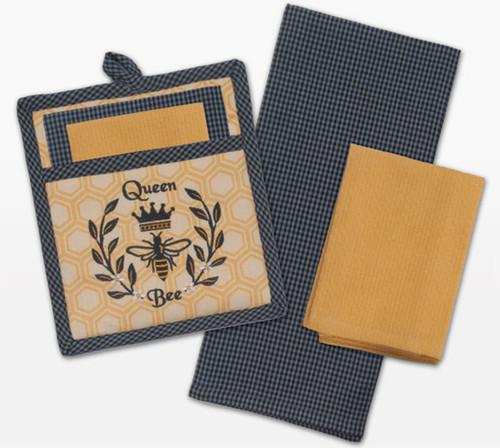 Bee Embroidered Kitchen Pocket Mitt Tea Towel Dishcloth 3 Piece Gift Set