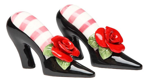 Black High Heels Red Rose Salt and Pepper Shakers Set